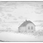 Hus i snöstorm